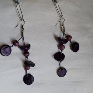 2 Tear Purple Earrings